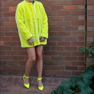 Zara Neon Yellow Fur Coat